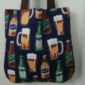 Handmade Bags - Beer Mugs, Bottoms Up Inspired Tote